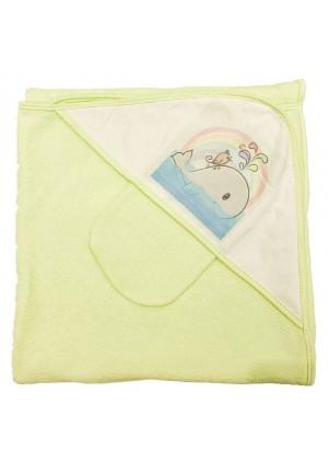 Комплект для купания (полотенце-уголок 100*100 с рисунком + рукавичка) зеленый