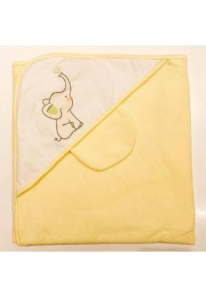 Комплект для купания (полотенце-уголок 100*100 с рисунком + рукавичка) желтый