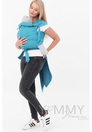 Май-слинг из шарфовой ткани Blue Biryuza (бирюзовый/темно-серый) (553)