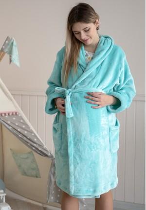 Халат плюшевый с капюшоном мятный для беременных