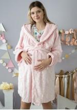 Халат плюшевый с капюшоном светло-розовый в сердечки для беременных..