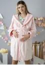 Халат плюшевый с капюшоном светло-розовый в сердечки для беременных