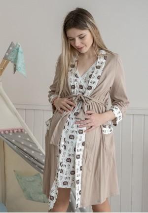 """Комплект для роддома (халат + сорочка) """"Мара"""" бежевый/котики для беременных и кормящих"""