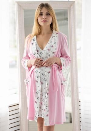 """Комплект для роддома (халат + сорочка) """"Мара"""" розовый/зебры для беременных и кормящих"""
