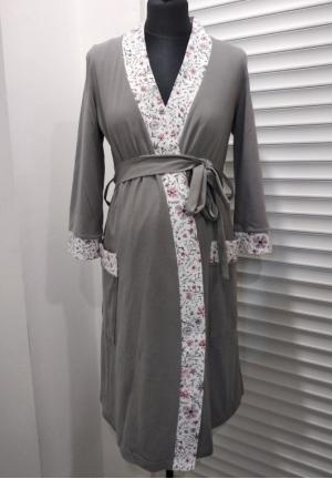 """Комплект для роддома (халат + сорочка) """"Мара"""" серый/цветочки для беременных и кормящих"""