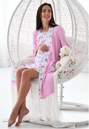 """Халат """"Уют"""" розовый/единороги для беременных и кормящих"""