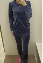 Костюм темно-синий велюровый для беременных и кормящих..