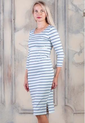 """Платье """"Классика"""" бежевая полоска (рукав 3/4) для беременных и кормящих"""