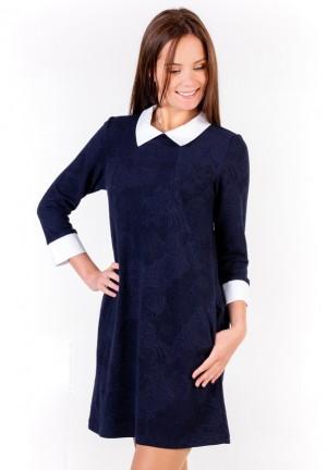 """Платье """"Одри"""" темно-синее для беременных и кормящих (P-081)"""