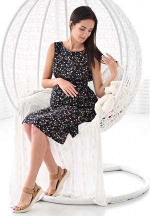 """Платье """"Счастье"""" черное в цветы для беременных и кормящих"""