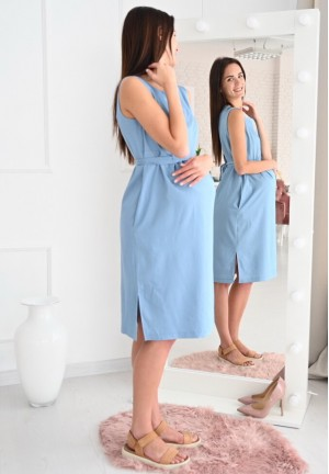 """Платье """"Счастье"""" голубой джинс для беременных и кормящих"""