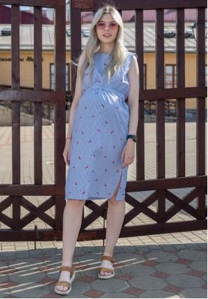 """Платье """"Счастье"""" полоска/перцы для беременных и кормящих"""