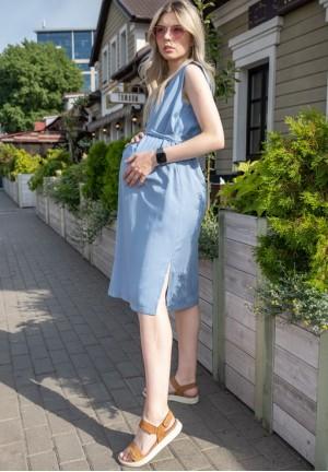"""Платье """"Счастье"""" голубое из тенсела для беременных и кормящих"""
