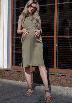 """Платье """"Счастье"""" хаки из тенсела для беременных и кормящих"""