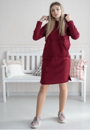 """Платье """"Стрит"""" марсала из футера с начесом для беременных и кормящих"""