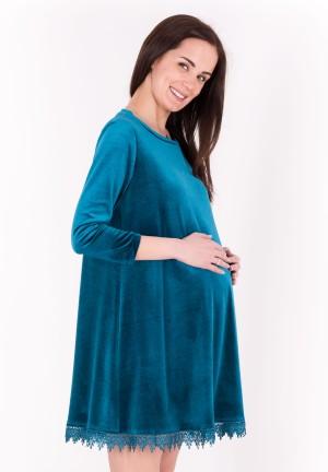 """Платье """"Вивьен"""" изумрудно-бирюзовый бархат для беременных"""