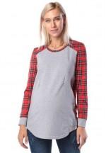 Джемпер красный для беременных и кормящих (ем 8501)..