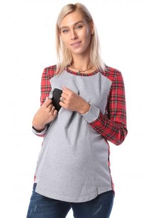 Джемпер красный для беременных и кормящих (ем 8501)