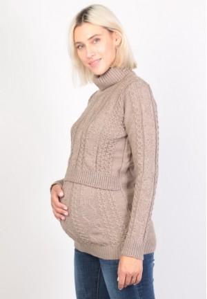Джемпер-водолазка бежевый для беременных и кормящих (ем 8606)