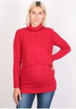 Джемпер-водолазка красный для беременных и кормящих (ем 8606)..