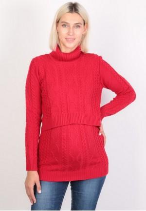 Джемпер-водолазка красный для беременных и кормящих (ем 8606)