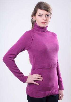 Джемпер лиловый для беременных и кормящих 50% ШЕРСТЬ (103 мод.)