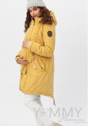 Куртка-парка 3в1 mustard (горчица) для беременных и слингоношения (807)