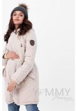 Куртка-парка 3в1 бежевая для беременных и слингоношения (807)..
