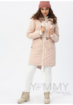 Куртка-парка 3в1 пудрово-розовая для беременных и слингоношения (807)