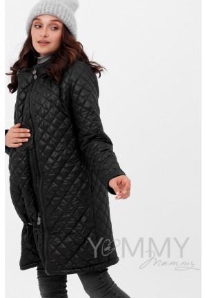 Куртка 3в1 черная стеганная для беременных и слингоношения (808)