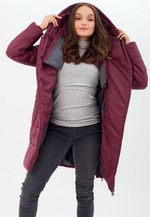 Куртка-пальто 3в1 бургунди для беременных и слингоношения (813)