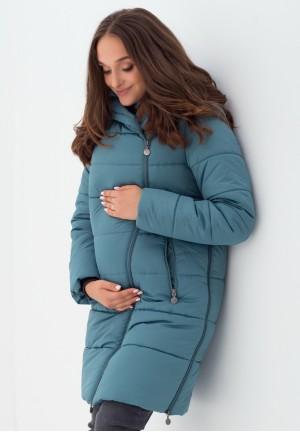 Куртка-пальто 3в1 морская волна для беременных и слингоношения (813)