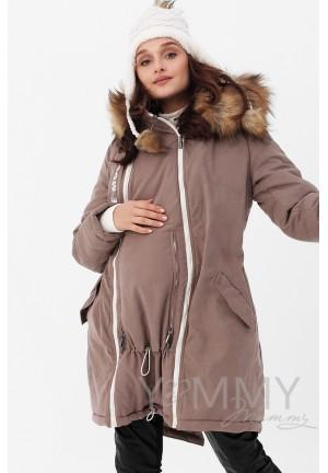 Куртка-парка 3в1 капучино с принтом для беременных и слингоношения (814)