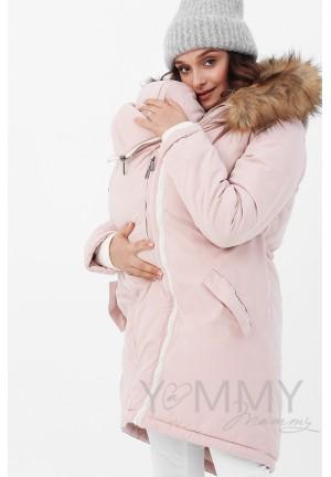 Куртка-парка 3в1 пудрово-розовая с принтом для беременных и слингоношения (814)