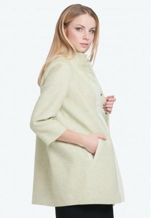 Пальто Марго оливковое 50% шерсть со вставкой для беременных