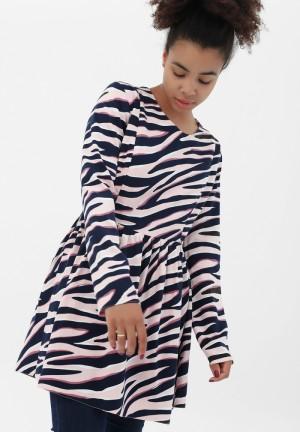 Туника розовая/темно-синий для беременных и кормящих (2094)