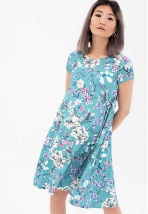 Платье серо-голубое с цветочным принтом для беременных и кормящих