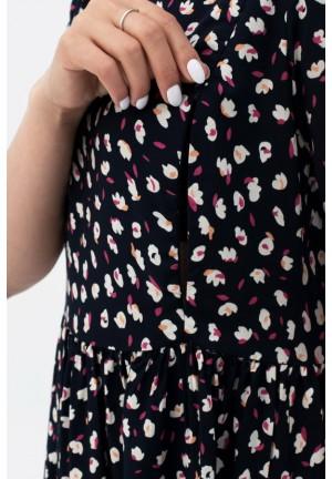 Платье темно-синее с цветочным принтом для беременных и кормящих