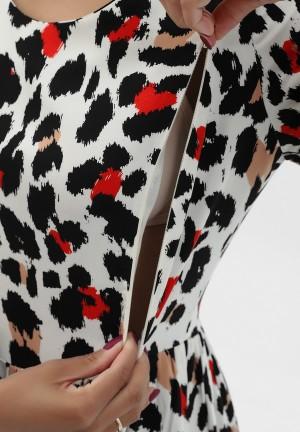 Платье экрю/красный/черный для беременных и кормящих (3006)
