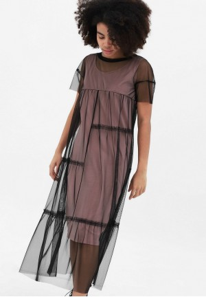 Платье с сеткой пудровое для беременных и кормящих