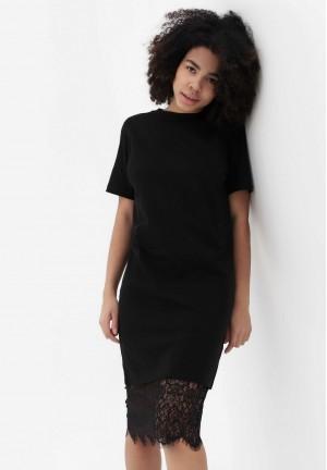 Платье-футболка черное с кружевом для беременных и кормящих (3016)