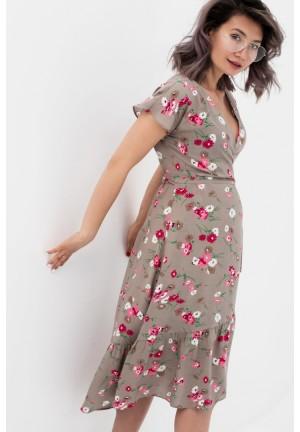 Платье на запах бежевое/цветы для беременных и кормящих