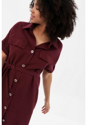 Платье-рубашка бордовое для беременных и кормящих