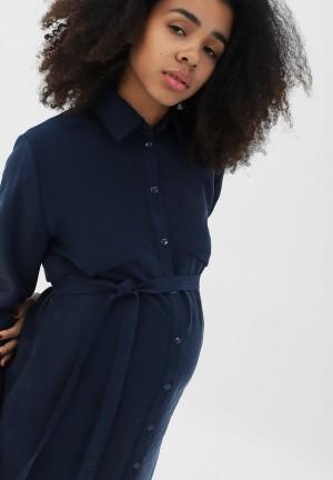 Платье темно-синее для беременных и кормящих (3027)