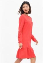 Платье с воланом коралловое для беременных и кормящих..