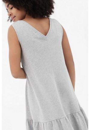 Платье с воланом серый меланж для беременных и кормящих