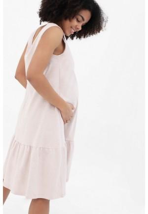 Платье с воланом бежевый меланж для беременных и кормящих