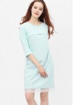 Платье с кружевом небесно-голубое для беременных и кормящих (376)..