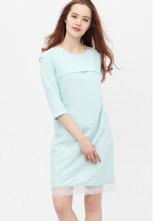 Платье с кружевом небесно-голубое для беременных и кормящих (376)