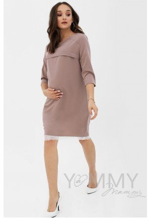 Платье капучино с кружевом для беременных и кормящих (376)